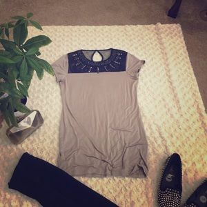 Adorned mesh chest tunic with stretchy grey body